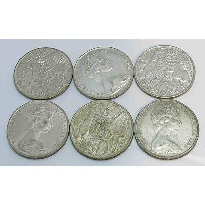 Australia Round Silver 50Cents 1966 (X6)