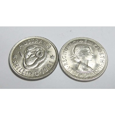 Australia Silver Shillings 1961 Uncirculated