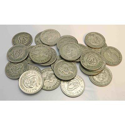 Australia Silver Shillings 1946-1953 (X25)