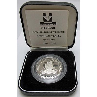 Australia Sterling Silver Proof $10 1986 South Australia