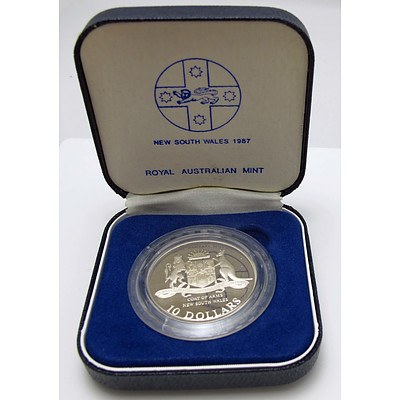Australia Sterling Silver Proof $10 1987 Nsw