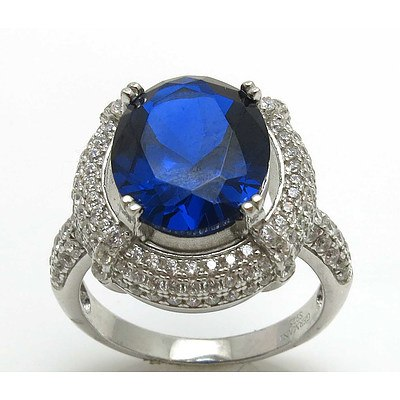 Sterling Silver Ring - Sapphire Blue Cz, Pave Set With White Cz