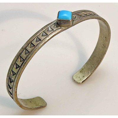 Vintage Sterling Silver Turquoise-Set Bangle