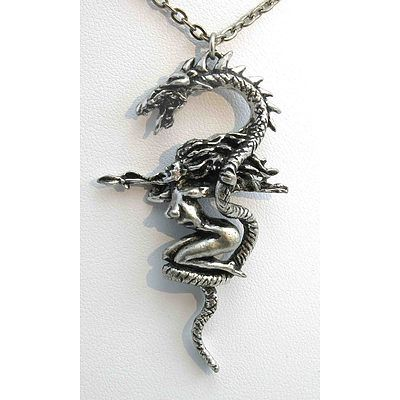 Dragon& Naked Warrior Woman Pendant
