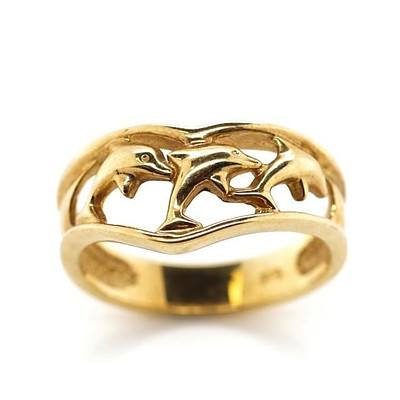 9ct Gold Leaping Dolphin Ring