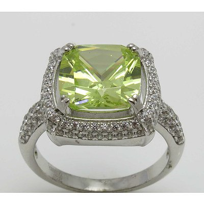 Sterling Silver Ring - Lemon Green Cz, Pave Set With White Cz