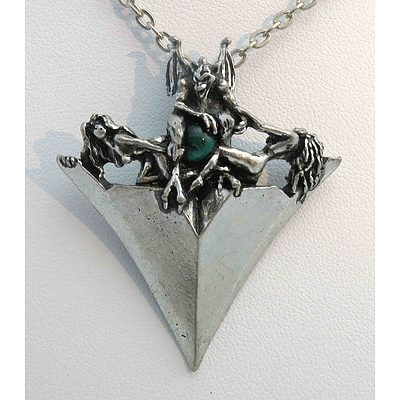 Pewter Pendant - Arrow Head, With Vampire Holding Green Ball