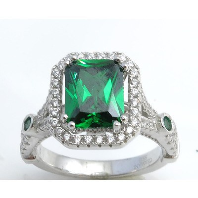 Sterling Silver Ring - Emerald-Green Cz, Pave Set With White Cz