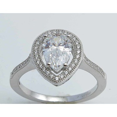 Pear-Cut Cz Ring - Sterling Silver