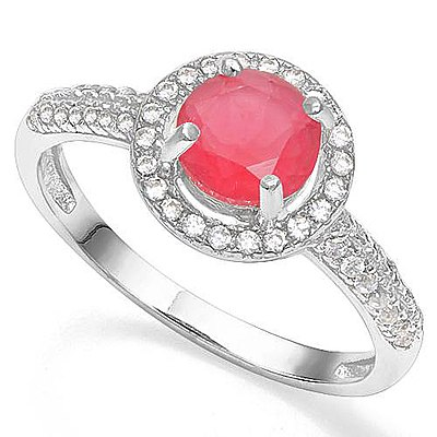 Ruby Red Cz Ring - Sterling Silver