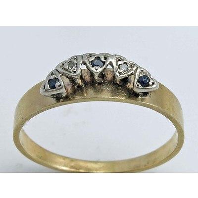 Vintage Sapphire & Diamond Ring - 9ct Gold