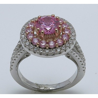 Bright Pink & White Cz Cluster Ring