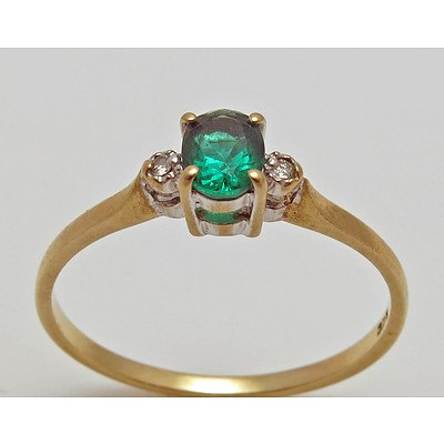 Vintage Gilson Emerald & Diamond Ring - 9ct Gold