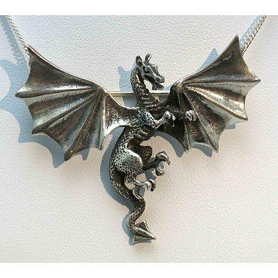 Pewter Dragon Brooch/Pendant
