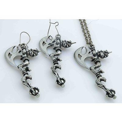 Pewter Pendant & Earrings - Complex Axe Design