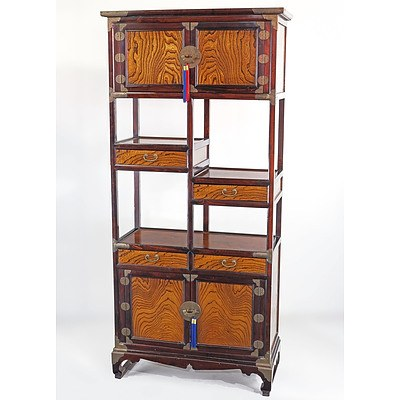 Korean Elm Panelled and Brass Mounted Tall Cabinet, Late 20th Century