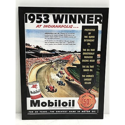 Two Framed Car Racing Prints