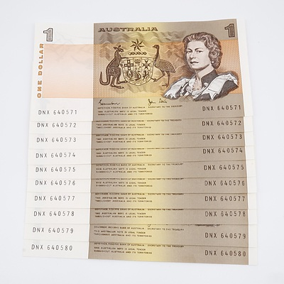 Ten Australian Sequential One Dollar Johnson/Stone Banknotes Uncirculated