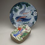 Two Asian Ceramics, including Koi Plate and Metal Mounted Shard Box
