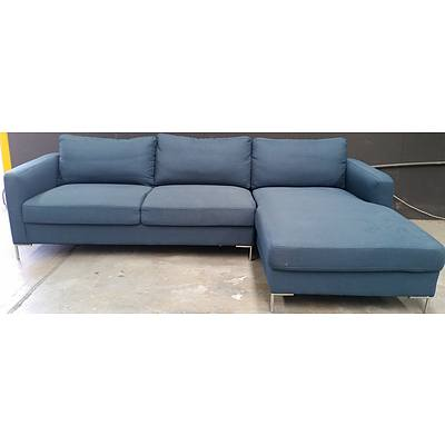 Blue Fabric L Shaped Couch