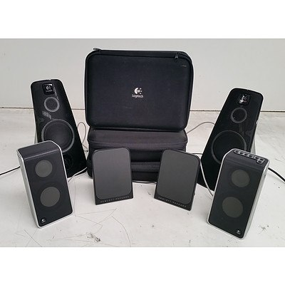 Assorted HP and Logitech Speakers - Lot of Five