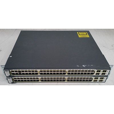 Cisco Catalyst (WS-C3750-48PS-S) 3750 Series PoE-48 48-Port Managed Ethernet Switch - Lot of Two
