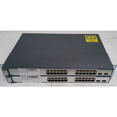 Cisco Catalyst (WS-C3750-24TS-S V07) 3750 Series 24-Port Managed Ethernet Switch - Lot of Two