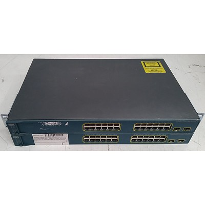 Cisco Catalyst (WS-C3560-24PS-S V06) 3560 Series PoE-24 24-Port Ethernet Switches - Lot of Two