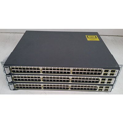 Cisco Catalyst 3750 Series PoE-48 Ethernet Switches - Lot of Three