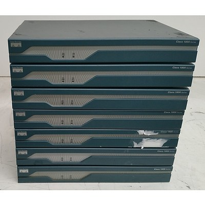 Cisco 1800 Series Integrated Service Routers - Lot of Seven