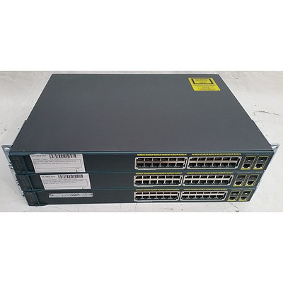 Cisco Catalyst 2960 Series PoE-24 24-Port Managed Switch - Lot of Three