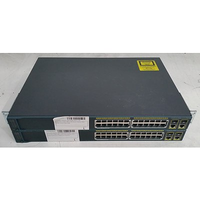 Cisco Catalyst 2960 Series PoE-24 24-Port Managed Switch - Lot of Two