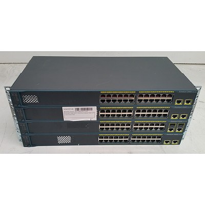 Cisco Catalyst (WS-C2960-24TT-L) 2960 Series 24-Port Fast Ethernet Switches - Lot of Four