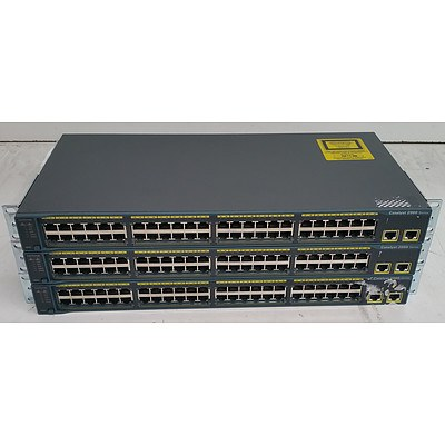 Cisco Catalyst (WS-C2960-48TT-L) 2960 Series 48-Port Fast Ethernet Switches - Lot of Three