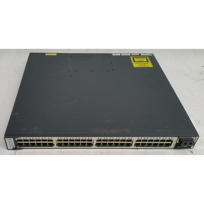 Cisco Catalyst (WS-C3750E-48PD-S V02) 3750-E Series PoE-48 48-Port Gigabit Managed Switch