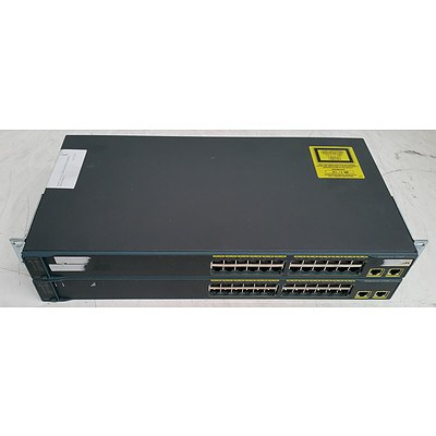 Cisco Catalyst (WS-C2960-24TT-L V03) 2960 Series 24-Port Managed Switch - Lot of Two