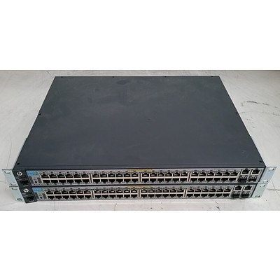 HP (J9627A) 2620-48-PoE 48-Port Fast Ethernet Switches - Lot of Two