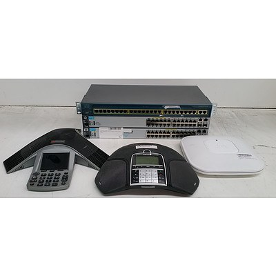 Bulk Lot of Assorted IT and Teleconferencing Equipment - Switches, Conference Phones and Dual-Band Access Points