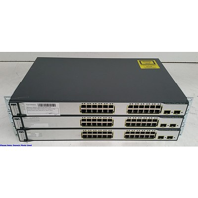 Cisco Catalyst (WS-C3750-24PS-S) 3750 Series PoE-24 24-Port Fast Ethernet Switches - Lot of Three