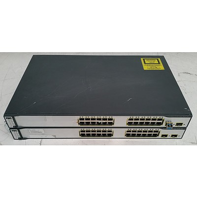 Cisco Catalyst (WS-C3750-24PS-S) 3750 Series PoE-24 24-Port Fast Ethernet Switches - Lot of Two