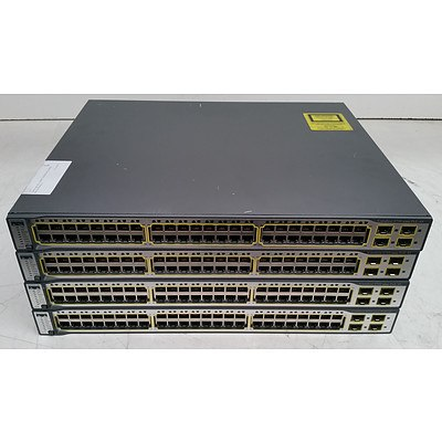 Cisco Catalyst (WS-C3750-48PS-S V05) 3750 Series PoE-48 48-Port Fast Ethernet Switches - Lot of Four