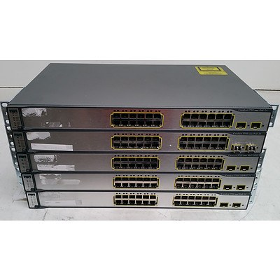 Cisco Catalyst (WS-C3750-24PS-S V03) 3750 Series PoE-24 24-Port Fast Ethernet Switches - Lot of Five