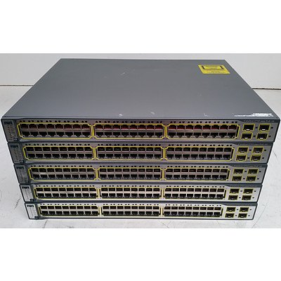Cisco Catalyst (WS-C3750-48PS-S V05) 3750 Series PoE-48 48-Port Fast Ethernet Switches - Lot of Five