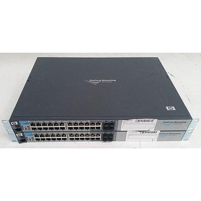HP ProCurve (J9021A) 2810-24G 24-Port Gigabit Managed Switch - Lot of Two