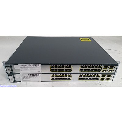 Cisco Catalyst (WS-C3750G-24PS-S V05) 3750G Series PoE-24 24-Port Gigabit Managed Switch - Lot of Two