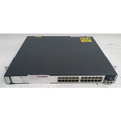 Cisco Catalyst (WS-C3750E-24PD-S V02) 3750-E Series PoE-24 24-Port Gigabit Managed Switch