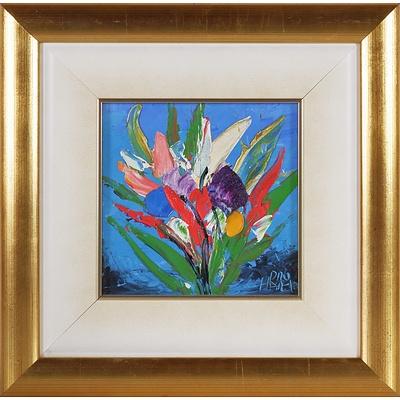 Pro Hart (1928-2006) Flower Study Oil on Board