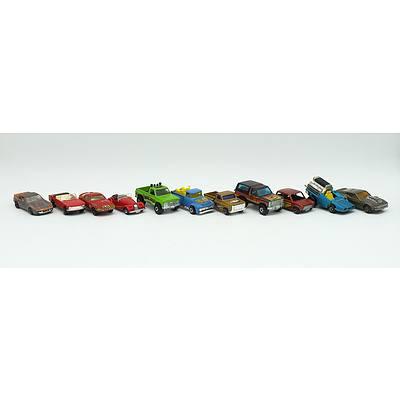 11 Assorted Toy Cars Including; MatchBox No.10 Piston Popper, MatchBox Tyre Fryer, MatchBox Racing Mini, Corgi Juniors Austin Healy Le Mans Sprite and More