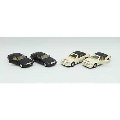 Four Mercedes Benz 500SL Mid Sized Model Cars