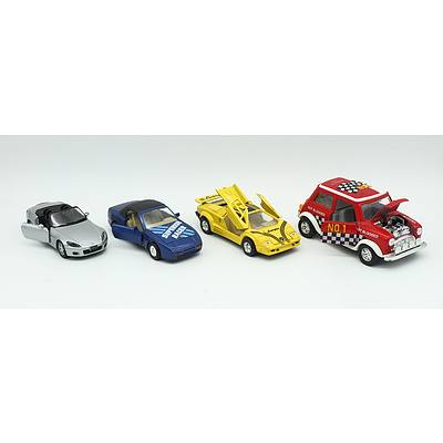 Four Medium and Large Sized Model Cars Including; Lamborghini Countach, Mini Cooper, Honda S2000 and Porsche 944